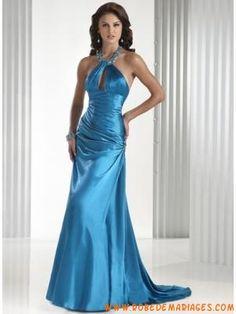 couture robe de soirée bretelle au cou orné de cristal de Mulhouse