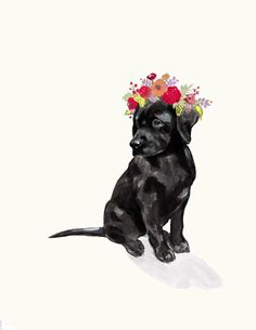 Black Lab 8 x 11 inches Printed on heavy 110 lb archival paper Artist signature on back of print - Black Labs, Black Labrador, Crown Drawing, Aquarell Tattoo, Dibujos Cute, Mary Engelbreit, Dog Tattoos, Tatoos, Paper Artist