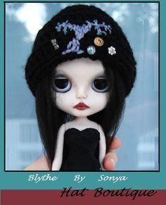 Blythe by Sonya: Halloween Hat Wishing Tree crochet black wool helmet /knit ooak #BlythebySonya