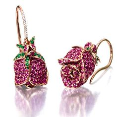 "A pair of Pink Sapphire ,Tsavorite Garnet, and Diamond ""Rose"" earrings by Michele Della Vale from Sothebys archives#18kgold #pinksapphire #tsvorite #earrings"