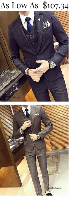 Trendy stylish look for working men!  Find this chic men suit in khaki and grey colours at $107.34.  Enjoy 10% discount with this coupon code [PTL1810Q1].  Click to shop.