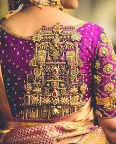 16 Blouse Back Neck Designs for Pattu Sarees That Will Make You Look Like a Walking Dream Blouse Back Neck Designs, New Blouse Designs, Stylish Blouse Design, Bridal Blouse Designs, Saree Blouse Designs, Salwar Designs, Sari Blouse, South Indian Blouse Designs, Stone Work Blouse