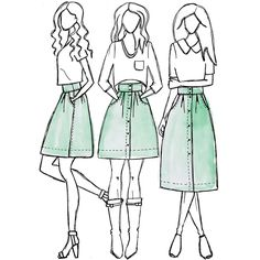 Kelly skirt sewing pattern: Button front pleated skirt with pockets. Pattern sits on the natural waist and features button front placket, wide waistband, large scoop pockets and pleating in the front and back.