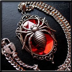 Red Spider Necklace  Gothic Jewelry Spider Jewelry by horribell, $18.00