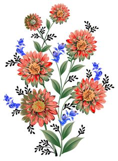 Folk Art Flowers, Flora Flowers, Shade Flowers, Bunch Of Flowers, Botanical Flowers, Botanical Art, Draw Flowers, Illustration Art Drawing, Plant Illustration
