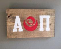 FREE SHIPPING handmade Alpha Omicron Pi  wood sign outline rose sorority A O Pi…
