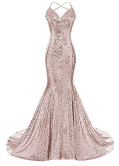 DYS Women's Sequins Mermaid Prom Dress Spaghetti Straps V Neck Backless Gowns Rose Gold US 6