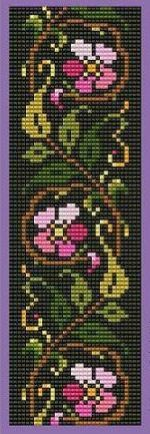 Flowers and leaves Seed Bead Patterns, Peyote Patterns, Weaving Patterns, Cross Stitch Designs, Cross Stitch Patterns, Cross Stitching, Cross Stitch Embroidery, Cross Stitch Bookmarks, Diy Couture