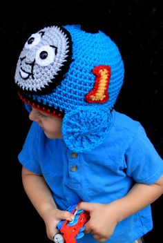 Crochet Train hat. Inspired Thomas the train. por KrazyHats1