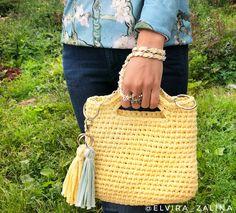 a60162748f68 Вязаная сумка из трикотажной пряжи. Модная сумка ручной работы из хлопка.  Жёлтая сумка.
