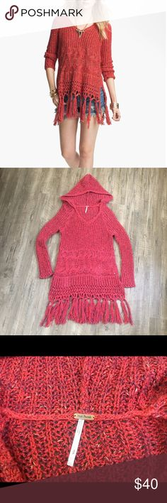 Free people Santa Rosa Sweater S Great condition!! Red cherry Santa Rosa hooded sweater with fringe. Free People Sweaters