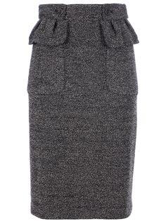 Blueberry Tweed Pencil Skirt