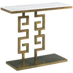 CTH Sherrill Occasional South Beach Aged Gold Greek Key Console
