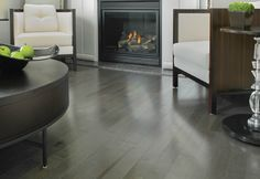 Glorious Grey Wood Floors Planks As Mediteranian Wood Flooring Ideas With White Seat Tuxedo Sofas And Modern Fireplace In Contemporary White Living Areas Furnishing Decors Vinyl Wood Planks, Modern Flooring, Wood Laminate Flooring, Wood Vinyl, Grey Flooring, Woodworking Furniture Plans, Woodworking Projects That Sell, Kids Woodworking, Grey Hardwood Floors