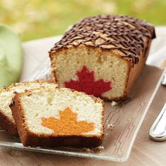 Leaf Inside Loaf Cake - Cut into this delicious pound cake for a fall surprise—a colorful maple leaf design in every slice! Use the leaves and acorns cutter set to cut the orange or red shapes, then stand them up in your white batter.