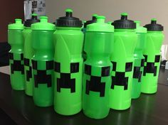 Minecraft favors for my sons 8th birthday. Found the water bottles at Five Below and filled them with candy. Creeper face cutout is black vinyl I ordered from Amazon.