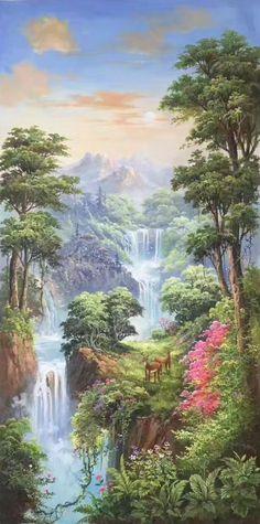 Oil painting - the living art! Fantasy Landscape, Landscape Art, Landscape Paintings, Mural Art, Wall Art, Wall Decor, Wall Murals, Beste Iphone Wallpaper, Beautiful Waterfalls