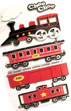 c49487ca Custom & Decorative to Inch} 6 Piece Pack of Mid-Size Stickers for Arts,  Crafts & Scrapbooking w/ Multiples of Cute Simple Cartoon Trains Choo Choo  Railroad ...