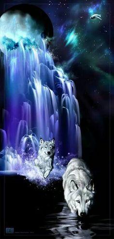 Wolf couple in purple blue moon waterfall river - fantasy art. Anime Wolf, Artwork Lobo, Wolf Artwork, Wolf Photos, Wolf Pictures, Wolf Love, Fantasy Kunst, Fantasy Art, Beautiful Creatures