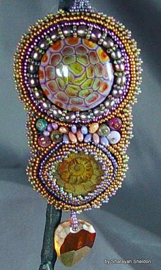 Amphibian Delphinium Bead Embroidered necklace. by 4uidzne on Etsy, $140.00