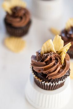 "Chocolate ""Chip"" Cupcakes with Coffee Glaze, Chocolate Ganache, Caramel drizzle and potato chips!!!"