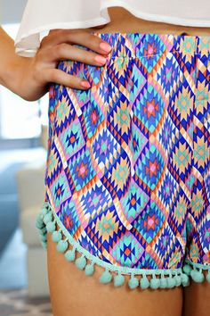 Aztec Print High Rise Shorts with Pom Pom Trim   http://uoionline.com: Womens Clothing Boutique