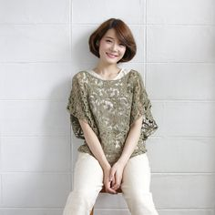 Over-Size Tops Lace Cotton Ylang-ylang Green Color -www.tanbagshop.com