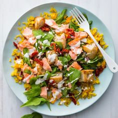 Flaked Salmon Salad with Baked Rice - Nadia Lim Salmon Salad Recipes, Fish Recipes, Seafood Recipes, Dinner Recipes, Cooking Recipes, Dinner Ideas, Lunch Recipes, Savoury Recipes, Chef Recipes