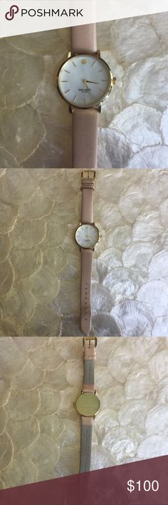 Kate Spade New York Vachetta Ladies Watch 1YRU0073 100% authentic Kate Spade New York Vachetta Ladies Watch 1YRU0073. Mother of pearl dial. Nude leather strap. Quartz movement. Case size 34 mm. Bottom of the strap a little worn, see last picture, otherwise in excellent condition. kate spade Accessories Watches