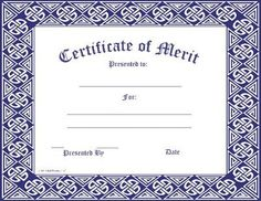 Achievement Certificate  Set Of