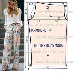 Discover thousands of images about Pallazo pants pattern size 46 Dress Sewing Patterns, Sewing Patterns Free, Sewing Tutorials, Clothing Patterns, Free Pattern, Coat Patterns, Sewing Pants, Sewing Clothes, Fashion Sewing
