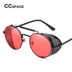 9cfecfefc84d CCSPACE Steampunk Retro Round Sunglasses Metal Frame Men Women Black Red Brand  Glasses Designer Fashion Male
