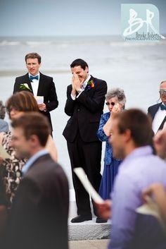 St_Simons_Island_Wedding_Photographers_Ceremony_Groom_Seeing_Bride_Crying_Beach_Wedding