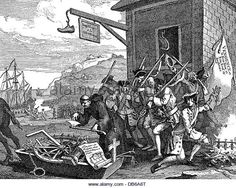 Seven Years War, 1756 - 1763, caricature on the war between France and England and the French soldiers, copper engraving - Stock Image
