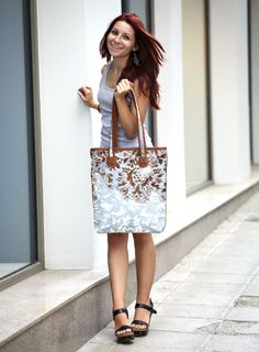 Leather bag / Large leather and fur tote bag by 5plus on Etsy, $186.00