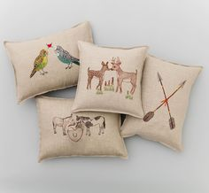 Pillows we just want to snuggle up with in this chilly weather! #parakeet #mule #deer love and crossed #arrows for the sweetest affections  #coralandtusk #love #pillows #embroidered #embroidery #decorativepillows #linenpillows #valentine #valentinesday
