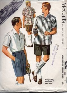 McCalls 3636 1950s Mens Designer BERMUDA SHORTS and Sport SHIRT Aldred of New York adult vintage sewing pattern by mbchills