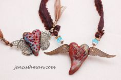 Resin clay, painting, texture, hand forming, fiber  jewelry, cold connection attachment, making clasps and findings
