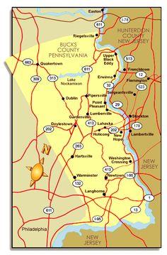 Bucks County Pa Road Map   Map of Bucks County, PA
