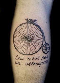 Ceci n'est pas un velocipede. Custom tattoo by Christel Perkins