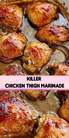 This is the best baked chicken thigh recipe, period. The chicken thigh marinade is so delicious that you will be making it again and again. It's killer! Marinated Chicken Recipes, Chicken Marinades, Best Chicken Recipes, Meat Recipes, Cooking Recipes, Best Chicken Thigh Recipe, Chicken Thigh Recipes Oven, Dinner Recipes, Chicken Thigh Marinade