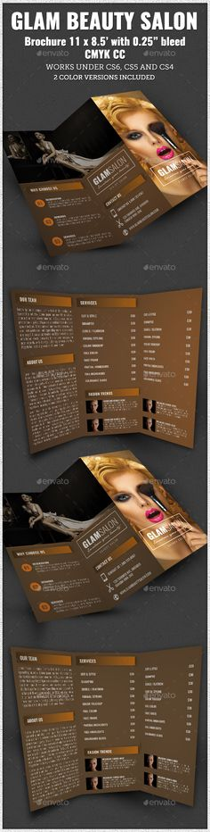 Glam Beauty Salon Trifold Brochure Indesign - Corporate Brochure Template InDesign INDD. Download here: http://graphicriver.net/item/glam-beauty-salon-trifold-brochure-indesign/11815760?s_rank=1764&ref=yinkira
