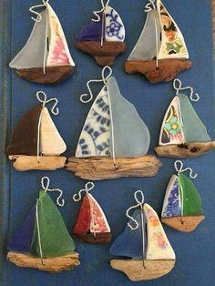 Sailboats from broken China and sea glass #seaglasscrafts