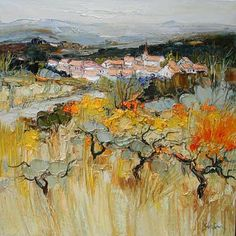 painting by French Artist Jean Paul Surin Landscape Artwork, Art Moderne, French Artists, Painting Inspiration, Collage, Illustrations, Drawings, Ardennes, Jean Paul