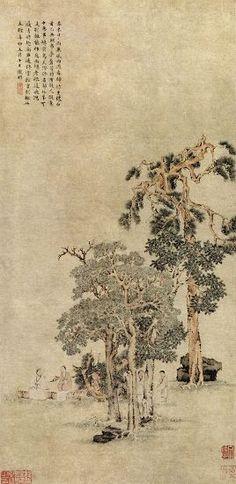 明代 - 文徵明 -《松下高士圖》             天津博物館藏   Wen Zhengming (1470 - 1559, Ming dynasty)