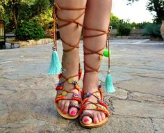 cb1d2228ede953 FREE SHIPPING Boho Gladiator Sandals   Leather Sandals   Colorful Sandals    Lace up handmade Sandals   Flat Greek Sandals   Womens Shoes