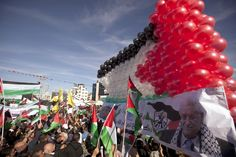 A huge Palestinian flag made out of balloons is ready to fly as people celebrate the successful bid by president Mahmud Abbas to win U. statehood recognition, the West Bank city of Ramallah. Gaza Strip, Balloons, December, Flag, City, People, Globes, Balloon, Cities