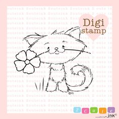 Primrose Kitty Digital Stamp for Card Making Paper by 2CuteInk, $3.00