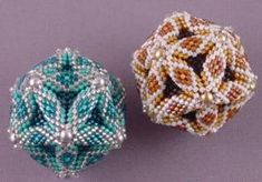 Level: Advanced - Pattern Price: $12.00 - Take three-dimensional peyote to a new level with this marvelous sphere. Points are embellished with glass pearls. In class, we will look at variations that can result in a wide variety of different finished looks. Students should be proficient at peyote stitch.