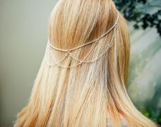 Silver Hair chain with gem accents Hair halo Halo by chainmarie, $16.00